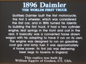 Image of a sign describing 1896 Daimler Truck